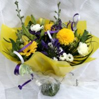 Blue and yellow tied bouquet