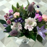 Clematis and Scabiosa bouquet