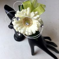 Cream & lime green wrist corsage
