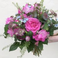 Hand tied bouquet with sweet peas