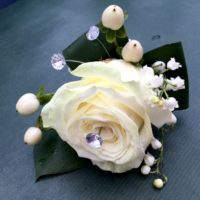 Ivory rose diamonte boutonniere