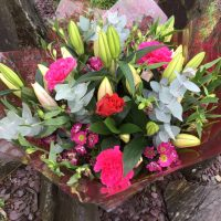 Pink lily mixed hand tied bouquet