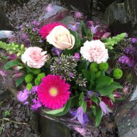 Purple and pink hand tied bouquet