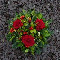 Grave posy with fresh roses