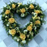 ellow loose open heart wreath