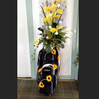 Golf bag flower arrangement