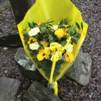 Yellow cellophane bouquet